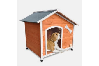 XL Wooden Dog House with Flip Open Hinged Roof and Side Window