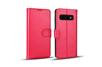 For Samsung Galaxy S10 Case  Pink Fashion Cowhide Genuine Leather Wallet Cover