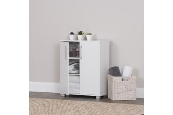 Storage Cabinet Organiser Double Door Shelf Cupboard White Display RRP $229!!