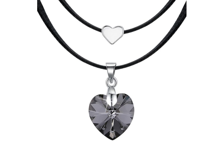 Love To Silver Night Heart Necklace Embellished with Swarovski crystals