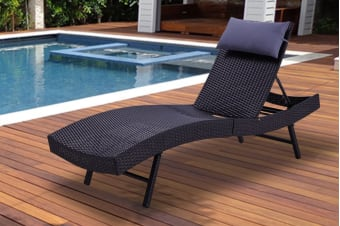 Shangri-La Wicker Sun Lounger (Black)