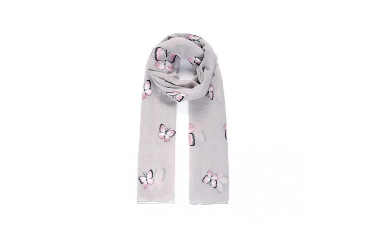 Intrigue Womens/Ladies Butterfly Embroidered Scarf (Grey) (One Size)
