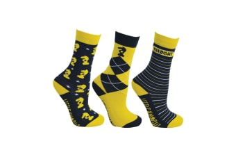 Little Knight Childrens/Kids Lancelot Socks (Pack Of 3) (Navy/Yellow/White)