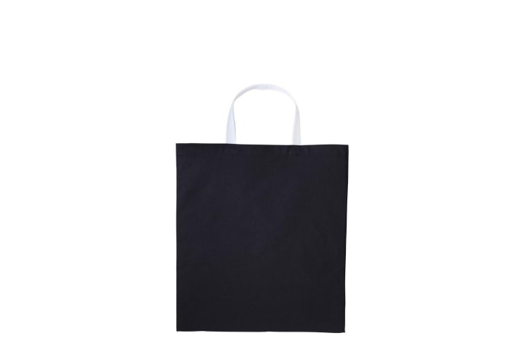 Nutshell Varsity Cotton Shopper Short Handle Tote (Black/White) (One Size)
