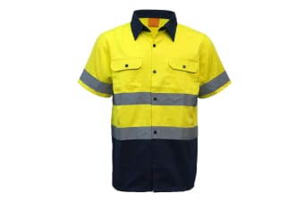 New 100% Cotton HI VIS Safety Short Sleeve Drill Shirt Workwear w Reflective Tap - Yellow