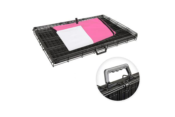 Foldable Metal Wire Dog Cage w/ Cover - PINK 42""