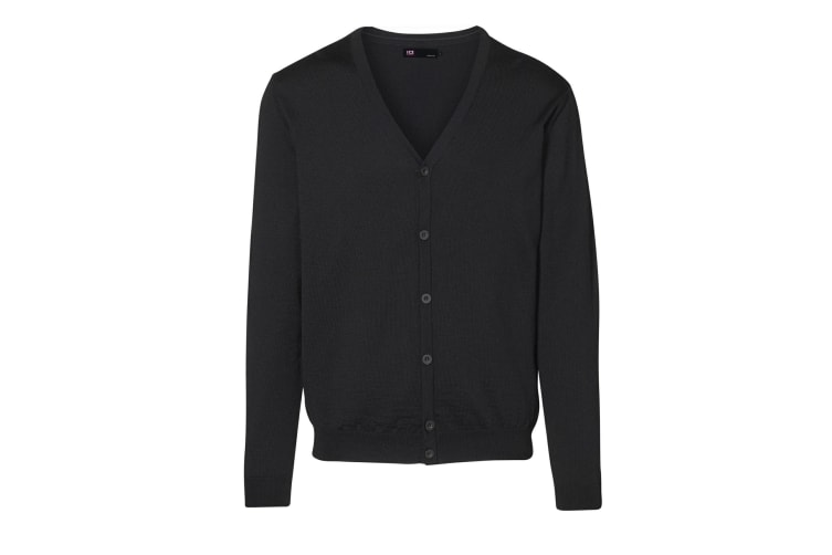 ID Mens Fitted Button Up Cardigan (Black) (L)