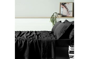 100% Linen Black Sheet Set KING