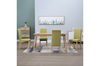 vidaXL Dining Chairs 4 pcs Green Fabric