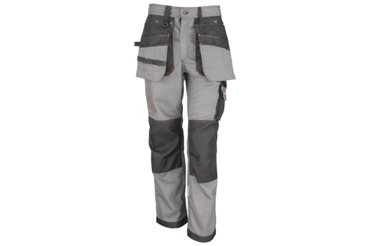 Result Workguard Mens X-Over Heavy Work Trousers (Grey/Black) (5XL)