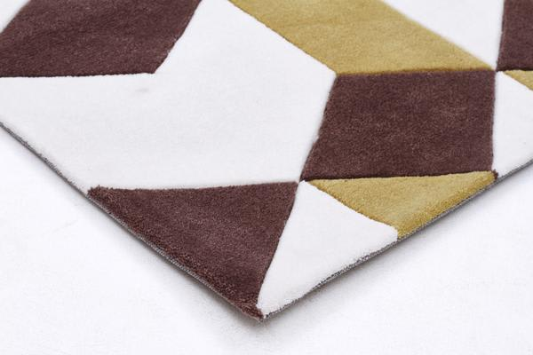 Cube Design Rug Yellow Brown White 225x155cm