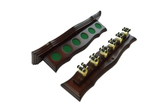 Curved Wall Cue Rack with 6 Brass Cue Clips Walnut