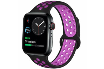 For Apple Watch Band Series 5 4 3 2 Sport Silicone iWatch Strap Band Wristband 42mm/44mm-Black Purple