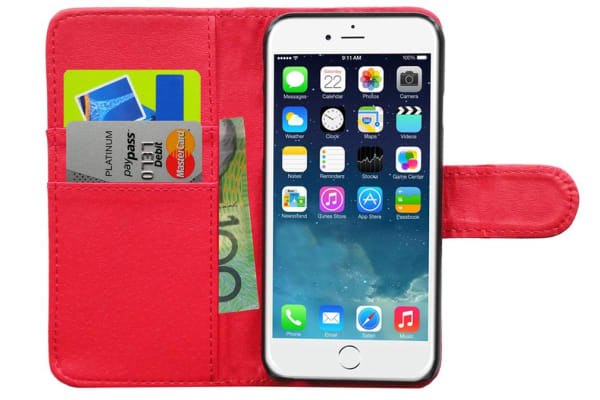 Red Wallet Folio Case Cover Pu Leather/Card Holder/ Pocket For Iphone 6 4.7""