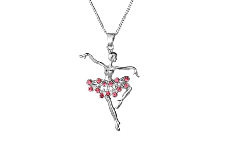 Dancing Ballerina Dancer Ballet Dance Pendant Necklace Charm Pink
