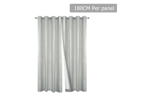 Set of 2 180CM Blockout Eyelet Curtain (Ecru)