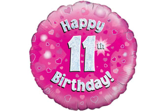 Oaktree 18 Inch Happy 11th Birthday Pink Holographic Balloon (Pink/Silver)