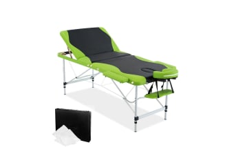 Aluminium Massage Table 3 Fold (Green) (Black)