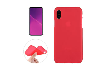 For iPhone XS X Case Red Frosted Solid Colour TPU Back Cover Cover