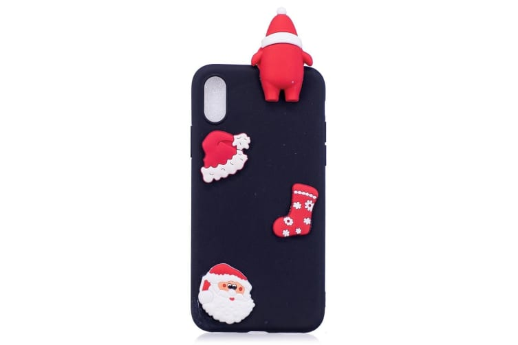 For iPhone XR Case Black 3D Paster Santa Claus Ornament Back Cover
