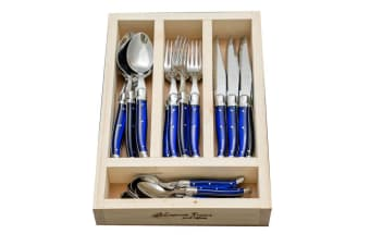 Laguiole Jean Neron 24 Piece Cutlery Set French Blue