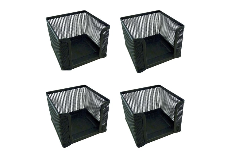 4PK Esselte Home/Work Mesh Memo/Notes Cube Holder Stationery Desk Organiser BK