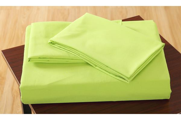 Polyester 3 Piece Bed Fitted Sheet + Pillowcase Queen Green