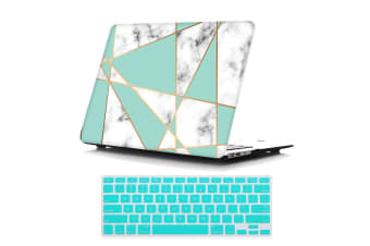 "Marble Frosted Matte Hard Case with Free Keyboard Cover for MacBook Pro 13"" 2016-2018 A1706 A1989 (With Touch Bar)-Turquoise Marble"
