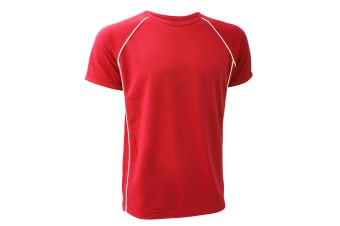 Finden & Hales Mens Coolplus Performance Sports T-Shirt (Red/White) (2XL)