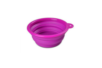 Pet Cat Food Water Feeding Foldable Portable Travel Bowl Purple