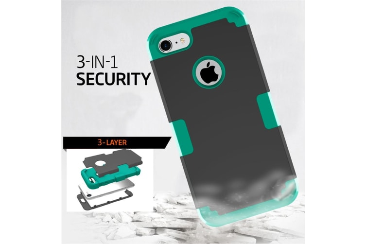 For iPhone 8 7 Case Stylish Triple Layer Armour Durable Protective Cover Blue