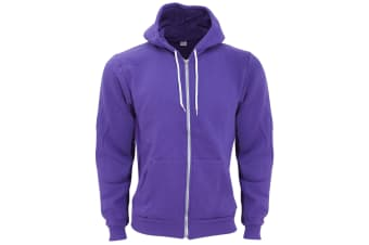 American Apparel Adults Unisex Flex Plain Full Zip Fleece Hoodie (Purple)
