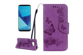 For Samsung Galaxy S8 Wallet Case Fancy Butterflies Emboss Leather Cover Purple