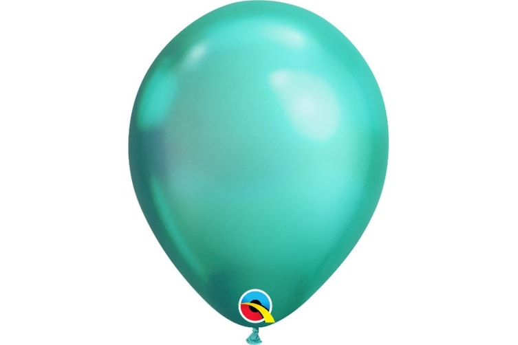 Qualatex 11 Inch Round Plain Latex Balloons (Pack of 25) (Chrome Green) (One Size)
