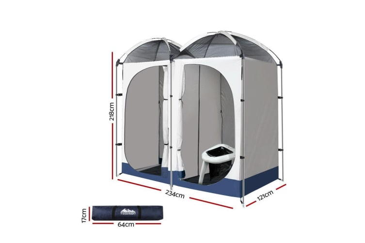 Weisshorn 20L Outdoor Double Toilet Camping Shower Tent Pop Up Change Room