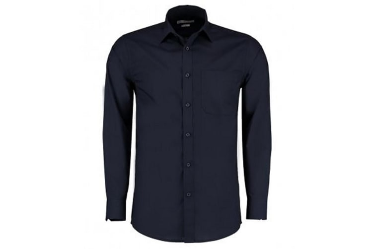 Kustom Kit Mens Long Sleeve Tailored Poplin Shirt (Dark Navy) (14.5)