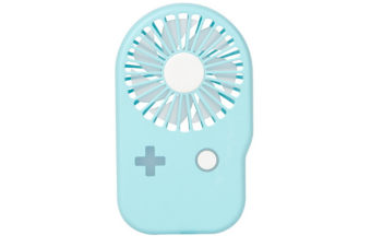 Select Mall Creative Portable Game Console Mini Fan USB Rechargeable Portable Handheld Hanging Neck Fan-Blue