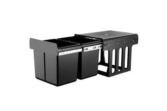 2X15L Pull Out Bin Kitchen Double Dual Twin Bins Sliding Rubbish Waste Basket