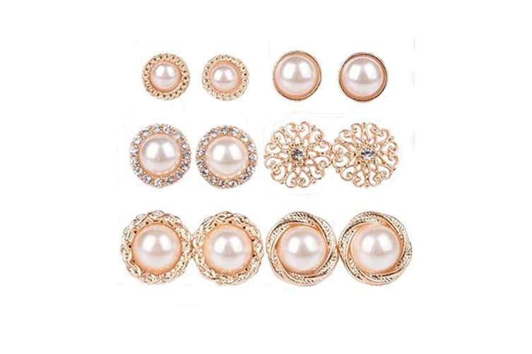 6 Pairs Assorted Boho Sea Shell Flower Faux Pearl Stud Earring P000031