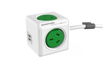 Allocacoc PowerCube 3m with 4 Power Outlets & 2 USB - Green (ALL-POWERCUBE5404-GN)