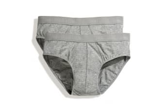 Fruit Of The Loom Mens Classic Sport Briefs (Pack Of 2) (Light Grey Marl) (M)