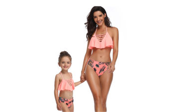 Tassels Family Matching Swimsuits Mom And Daughter Bikini Orange 140