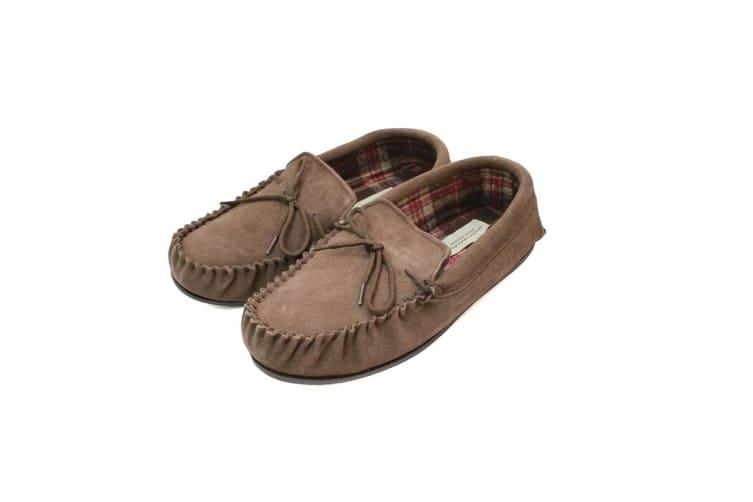 Eastern Counties Leather Mens Fabric Lined Moccasins (Taupe) (6 UK)