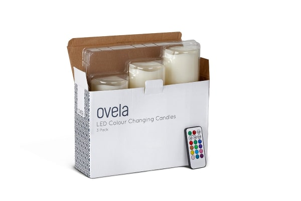 Ovela Set of 3 Colour Changing LED Candles