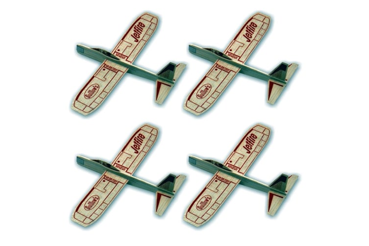 4PK Guillow's Jetfire Outdoor Glider Throw Flying Plane Kids/Child Airplane Toys