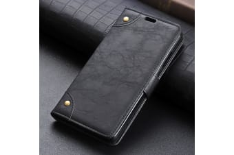 For Google Pixel 3 Leather Wallet Case Black Copper Buckle Horse Texture Cover