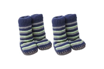 2x Playette Slipper Socks/Shoes/Boots 18-24M Navy Stripes Boys/Baby/Toddler/Kids