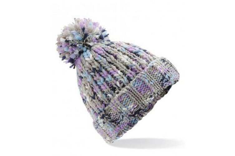 Beechfield Adults Twister Pom Pom Beanie (Lavender Twist) (One Size)
