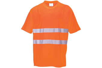 Portwest Cotton Comfort Reflective Safety T-Shirt (Pack of 2) (Orange) (L)