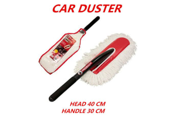 Deluxe Microfiber Car Duster Brush Dusting Dust Wax Mop 40CM Head 30CM Handle